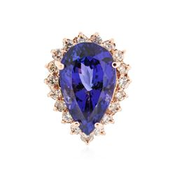 14KT Rose Gold 18.98 ctw GIA Cert Tanzanite and Diamond Ring
