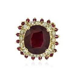 14KT Yellow Gold 20.08 ctw Ruby and Diamond Ring