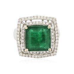 14KT White Gold 6.03 ctw Emerald and Diamond Ring