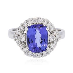 14KT White Gold 2.75 ctw Tanzanite and Diamond Ring