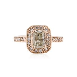 14KT Rose Gold 1.09 ctw Fancy Green Diamond Ring