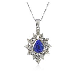 14KT White Gold 2.77 ctw Tanzanite and Diamond Pendant With Chain