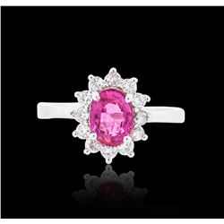 14KT White Gold 1.13 ctw Pink Tourmaline and Diamond Ring