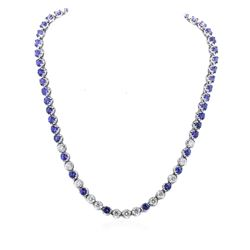 14KT White Gold 24.00 ctw Tanzanite and Diamond Necklace