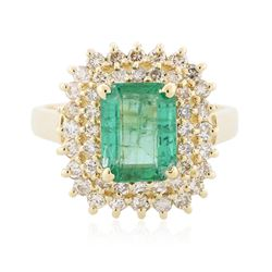 14KT Yellow Gold 1.96 ctw Emerald and Diamond Ring