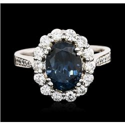 14KT White Gold 2.96 ctw Blue Spinel and Diamond Ring