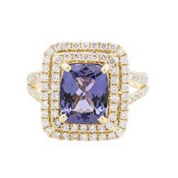 14KT Yellow Gold 3.24 ctw Tanzanite and Diamond Ring
