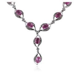 14KT White Gold 15.40 ctw Pink Sapphire and Diamond Necklace