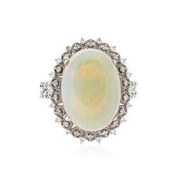 14KT White Gold 6.44 ctw Opal and Diamond Ring