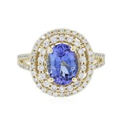 14KT Yellow Gold 2.37 ctw Tanzanite and Diamond Ring