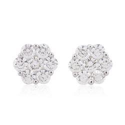 14KT White Gold 1.68 ctw Diamond Earrings