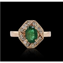 14KT Rose Gold 0.94 ctw Emerald and Diamond Ring