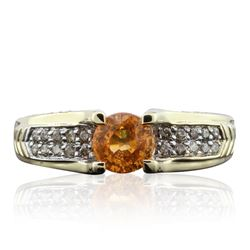 14KT Yellow Gold 1.00 ctw Citrine and Diamond Ring