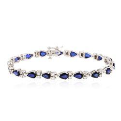 14KT White Gold 8.82 ctw Sapphire and Diamond Bracelet
