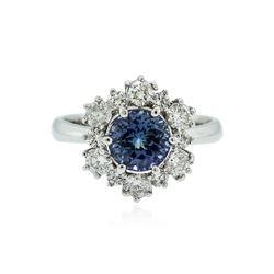 14KT White Gold 1.74 ctw Tanzanite and Diamond Ring