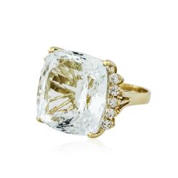 14KT Yellow Gold GIA Certified 33.51 ctw Aquamarine and Diamond Ring
