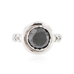 14KT White Gold 2.72 ctw Black & White Diamond Ring
