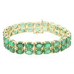 14KT Yellow Gold 28.52 ctw Emerald Bracelet