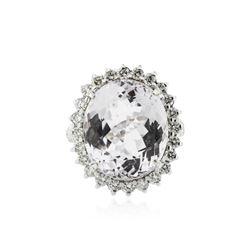 14KT White Gold 24.09 ctw Kunzite and Diamond Ring