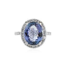 14KT White Gold 5.79 ctw Tanzanite and Diamond Ring