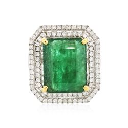 14KT Two-Tone 10.85 ctw Emerald and Diamond Ring