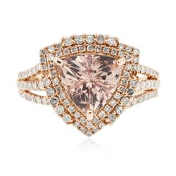 14KT Rose Gold 1.93 ctw Morganite and Diamond Ring