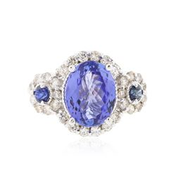 14KT White Gold 4.08 ctw Tanzanite, Sapphire & Diamond Ring