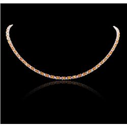 14KT White Gold 14.30 ctw Orange Sapphire and Diamond Necklace