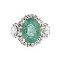 14KT White Gold 3.66 ctw Emerald and Diamond Ring