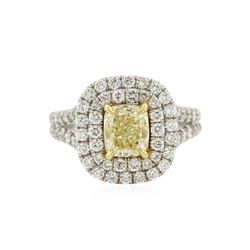 14KT White Gold 2.78 ctw Fancy Yellow Diamond Ring