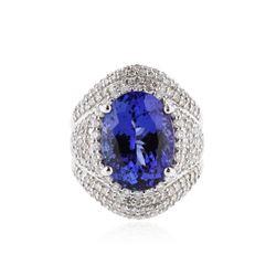 18KT White Gold 8.30 ctw Tanzanite and Diamond Ring