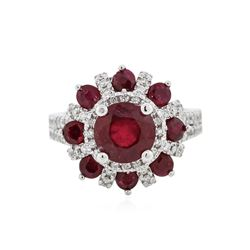 14KT White Gold 4.24 ctw Ruby and Diamond Ring