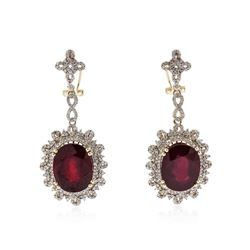 14KT Yellow Gold 31.38 ctw Ruby and Diamond Earrings