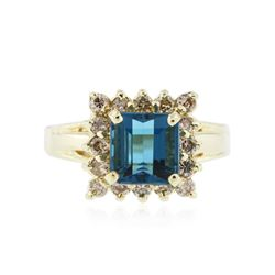 14KT Yellow Gold 2.35 ctw Topaz and Diamond Ring