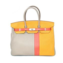 Authentic Vintage Hermes 35cm Birkin Bag in Dual Tone Yellow Togo Leather with P