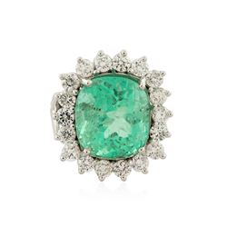 14KT White Gold GIA Certified 10.73 ctw Emerald and Diamond Ring