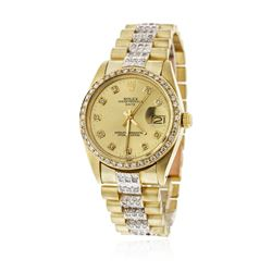 Gents Rolex 14KT Yellow Gold 4.00 ctw Diamond Date Wristwatch