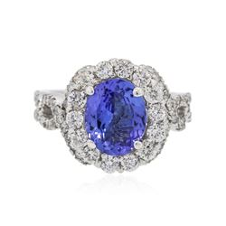 14KT White Gold 1.93 ctw Tanzanite and Diamond Ring