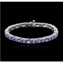 14KT White Gold 15.39 ctw Tanzanite and Diamond Bracelet