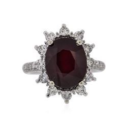 14KT White Gold 7.74 ctw Ruby and Diamond Ring
