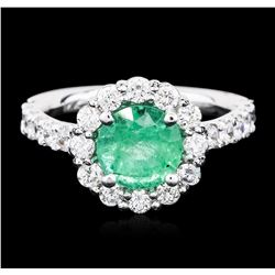 14KT White Gold 1.49 ctw Emerald and Diamond Ring