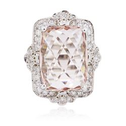 14KT White Gold 13.52 ctw Morganite and Diamond Ring