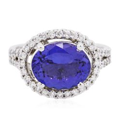14KT White Gold 3.64 ctw Tanzanite and Diamond Ring