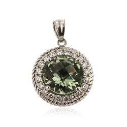 14KT White Gold 3.05 ctw Green Amethyst and Diamond Pendant