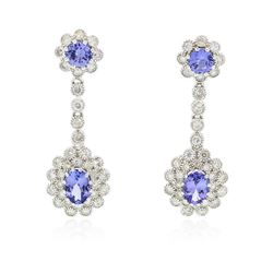 14KT White Gold 3.38 ctw Tanzanite and Diamond Earrings