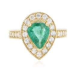 14KT Yellow Gold 1.65 ctw Emerald and Diamond Ring