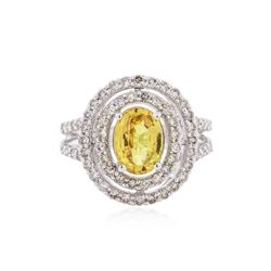 14KT White Gold 2.40 ctw Yellow Sapphire and Diamond Ring