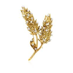 18KT Yellow Gold 1.38 ctw Diamond Brooch