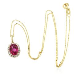 14KT Yellow Gold 2.42 ctw Tourmaline and Diamond Pendant A8635