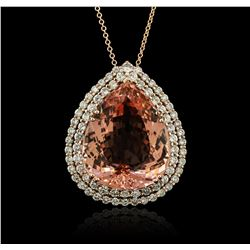14KT Rose Gold GIA Certified 58.12 ctw Morganite and Diamond Pendant With Chain